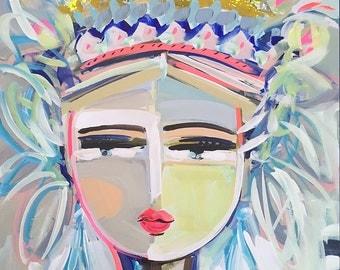 Warrior Girl PRINT, woman portrait, abstract faces, Maren Devine