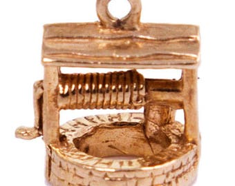 Vintage 1980s 9ct Yellow Gold Wishing Well Charm
