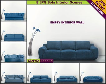 Living Room Blue Sofa Interior Scene | 8 Blank Wall JPG Styled Scene SC12 | Wall decor mockup | Scene Creator