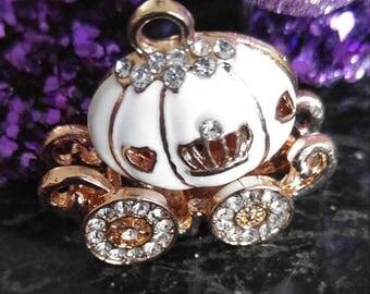 Pink Pumpkin Carriage Pendant, Princess Carriage Pendant, Necklace Pendant, Carriage Pendant