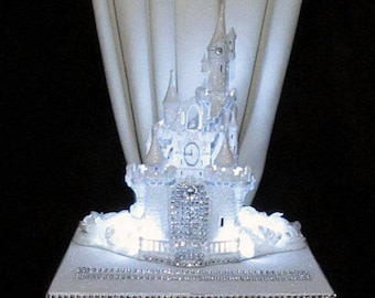 Lighted Cinderella Castle Wedding Card Box Square Fairy Tale
