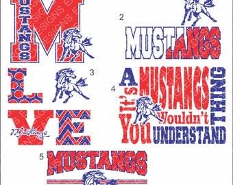 Mustangs| Cut File Bundle| SVG| DXF| EPS| Cut File| Football| Basketball| Silhouette| Cricut| Vector File Bundle| Instant Download
