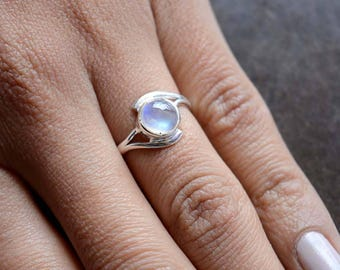 Rainbow Moonstone Cabochon Sterling Silver Ring, Stacking Ring, Rainbow Ring, 925 Silver Ring, Natural Gemstone Rings - SKU 435
