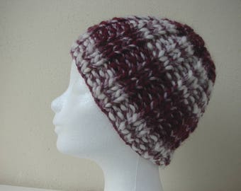 Hat dark red white child warm comfortable winter knit chunky hat kid knit in round thick and thin woolen acrylic effect yarn bordeaux