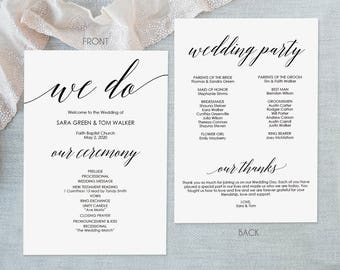 Printable Wedding Program - Calligraphy style font - Editable PDF Instant Download - DIY Program Template - 5x7 inches Double sided- #GD0506