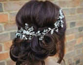 Bridal headpiece, Bridal hair adornment, pearl headpiece, floral hair vine, wedding hair accessories, bridal hair piece, hair jewelry bride