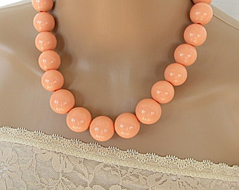Peach statement necklace set, peach chunky necklace for her, Easter necklace for women, spring 2017 fashion necklaces, big bold necklaces