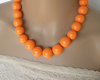 Orange necklaces for women, beaded necklace, statement necklace, long necklace jewelry set everyday necklace simple necklace chunky necklace