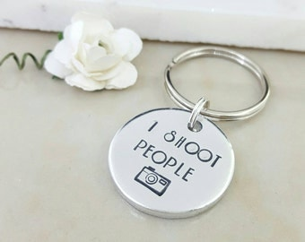 I shoot people photography gift camera keyring photographer gift hand stamped gift for him her mr mrs dad son daughter mom mum