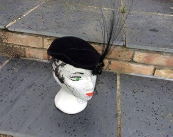 1930s hat by KOHINOOR (Austria) black horsehair plume ,black velvet with veil and faux jet .