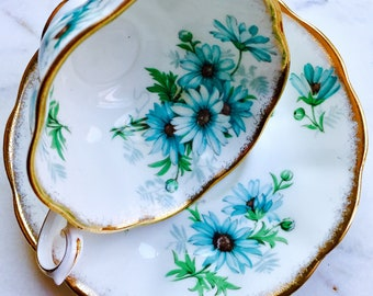 Royal Albert Marguerite Blue Floral Tea Cup and Saucer