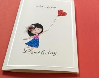 Handmade birthday 3D Blank card inside with envelope