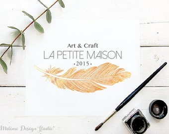 Feather Logo Design, Pre-made Logo, Gold Feather Logo for your Business, Art and Craft Shop Pre-made and Personalized logos (19-LOGO)