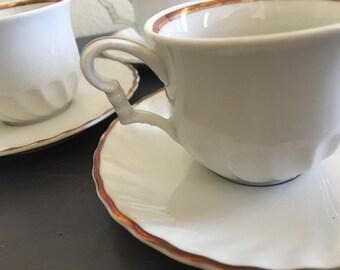 Four white porcelain Boardwalk Empire style handled espresso / demitasse / tea cups & saucers Bavaria Germany - Art Deco with gold leaf!