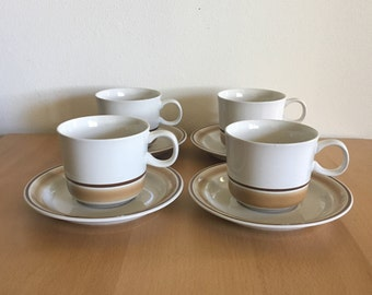 Lovely set of 4 Hearthside Japan Water Colors handled coffee tea cocoa stoneware mugs / cups & saucers in 70s Mod cream and brown style!