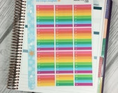Rainbow To Do Boxes LINED Stickers! 1 punched sheet, for your Erin Condren Life Planner, Plum Planner,  Filoflax, calendar