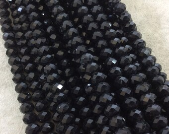 """8mm x 10mm Glossy Finish Faceted Opaque Jet Black Chinese Crystal Rondelle Beads - Sold by 17"""" Strands (Approx. 57 Beads) - (CC810-002)"""