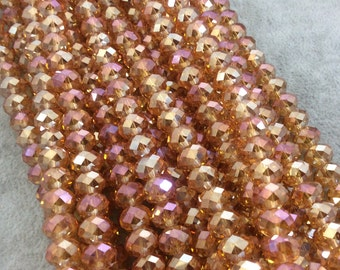 """8mm x 10mm AB Finish Faceted Transparent Bicolor Peach Chinese Crystal Rondelle Beads - Sold by 17"""" Strands (Approx. 57 Beads) - (CC810-85)"""