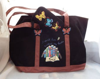 """Tote for Books or Shopping With Attached Eyeglass Case -"""" I Can't Live Without My Books"""" Pretty Colors with Books and Butterflys"""