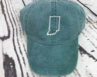 Indiana hat, State of Indiana baseball hat, Indiana baseball cap, Indiana hat, State outline hat, Gameday hat, State outline