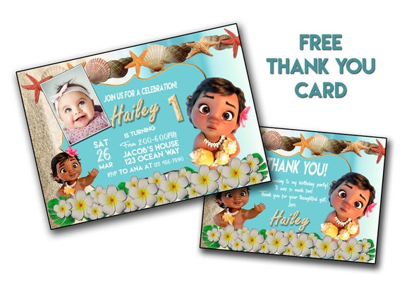 Baby Moana invitation Moana Birthday cardMoana PRINTABLE – Printable Disney Birthday Cards