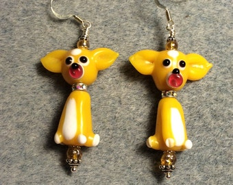 Yellow topaz puppy dog lampwork bead dangle earrings adorned with topaz Czech glass beads.