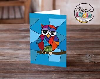 owl greeting card, owl art card, owl card, birthday card, anniversary card, children birthday, owl lovers, invitation card