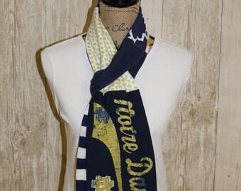 Notre Dame fighting Irish upcycled t-shirt scarf