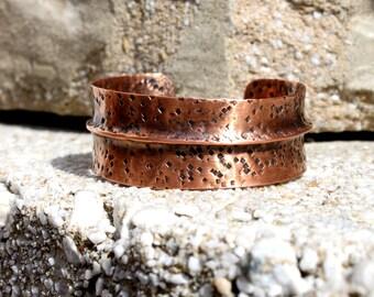 Rustic Copper Cuff Bracelet, Minimalist Copper Cuff, Hammered Copper Bracelet, Casual Chic Copper Cuff Bracelet