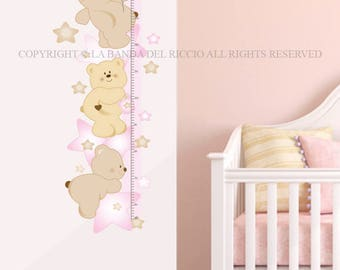 Kids Growth Chart Wall decals Baby Nursery Room Decor Growth Chart  Bears In The Stars