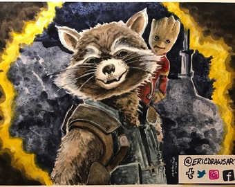 Rocket and Groot print.