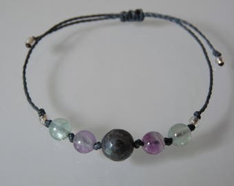 """Understanding and protection"" Beads Bracelet, Fluorite, Labradorite, Meditation, Yoga, Zen, minimalist, Chakra, Lithotherapy"