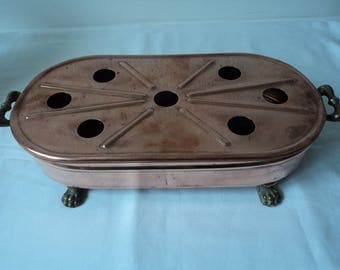 REDUCED - French Vintage large copper  and brass food warmer (04436)