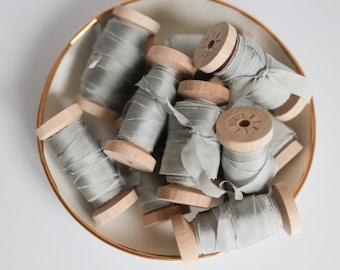 Silk Ribbon GREY Plant based, Hand dyed silk ribbons