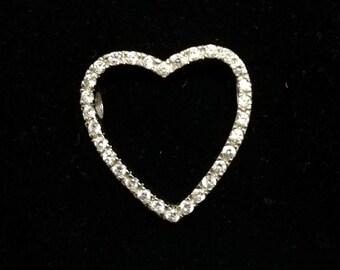 Sterling silver heart pendant, silver heart cz stones