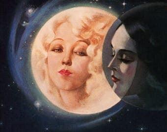 "Original Vintage Alberto Vargas  Print Book Plate ""Moonlight Eclipse"""