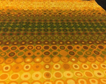 German 70s vintage fabric fabric patchwork 55 x 60 cm circle Ochre yellow warehouse: box 21