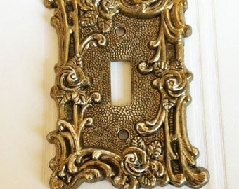 Vintage Fancy Metal Swirls and Roses Single Switchplate Cover