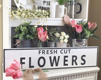 Large Fresh Cut Flowers Sign, Flower Market, Spring home decor