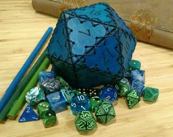 Mini Leather D20 dice bag of holding-Teal