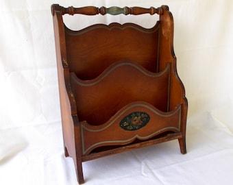 Vintage Wooden Magazine Holder Rack, Victorian Style