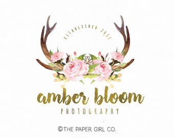 deer antler logo boho chic logo premade logo design wedding logo design watercolor flower logo rustic logo design photography logo watermark