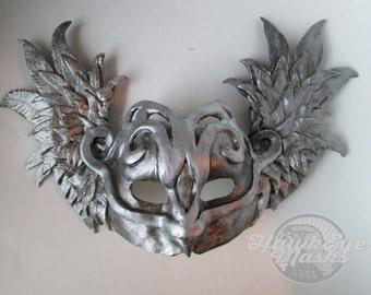 Masquerade mask, silver, winged mask, Mythological, wings, Goddess, Warrior, Moon, Greek God, made to order, Halloween mask