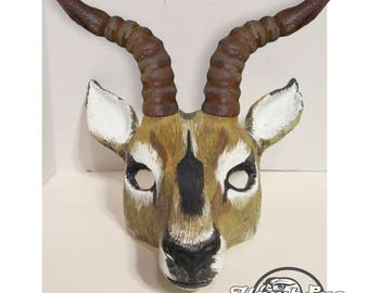 Impala costume mask, Antelope, realistic animal mask, faux antlers, made to order, handmade, hand painted, masquerade mask, Carnival mask