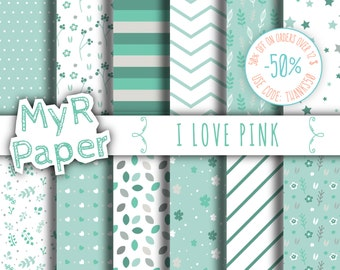 """Green Digital Paper: """"Green Flowers"""" pack of backgrounds with floral, leaves, stars and hearts"""
