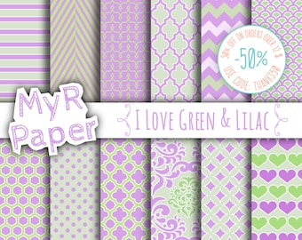"Pink digital paper: ""I LOVE GREEN & LILAC"" pack of backgrounds and patterns with  chevron, polka dots, stripes, damask, quatrefoil, hearts"