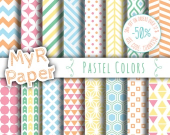 """Geometric Digital Paper Pack: """"Pastel Colors"""" geometric patterns for scrapbooking, invites, cards - printable - Backgrounds"""