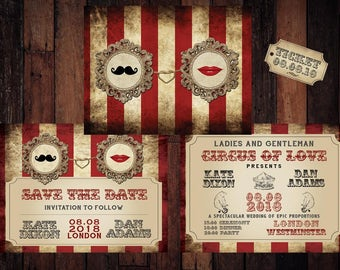 Printable Vintage circus, carnival wedding invitation 4 designs set