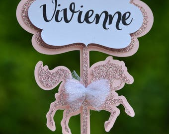 Carousel Birthday Cake Topper,Personalized Cake Topper,Custom Name Birthday Topper, Baby Shower Topper,Pink Glitter Cake Topper