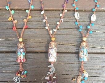 Crystal vial adjustable macarme necklace